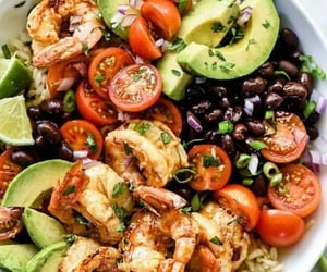 healthy, salad, and shrimp image