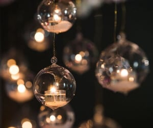 balls, golden, and holidays image