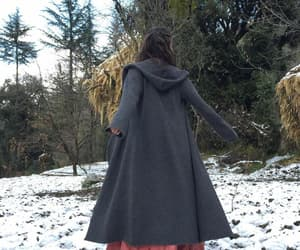 etsy, wool coat, and loose knit sweater image