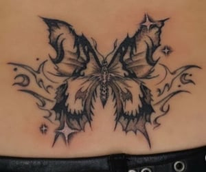 butterfly, tattoo, and tramp stamp image