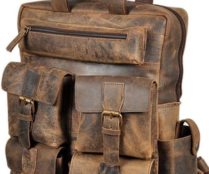 backpack, leather backpack, and overnight bag image
