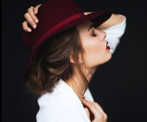 hat, lipstic, and white image