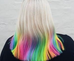 color hair, hair, and rainbow hair image
