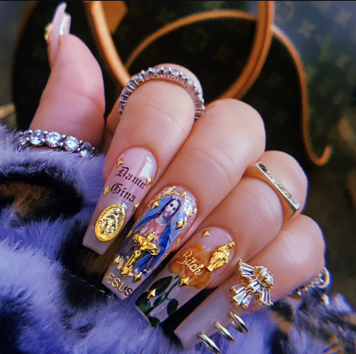 nails, fashion, and gold image