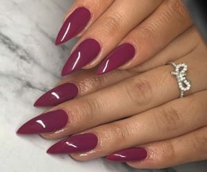 burgundy, nails, and diomands image