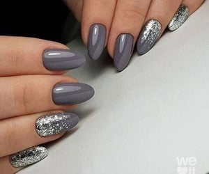 grey, glitter, and nails image