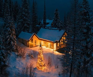 snow, house, and cottage image