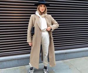 Balenciaga, camel coat, and blogger image
