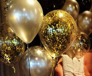 baloons, black, and gold image
