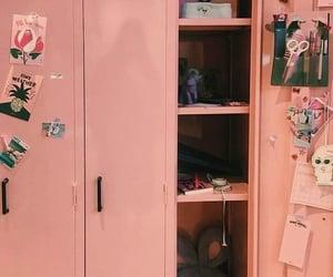 pink, locker, and school image