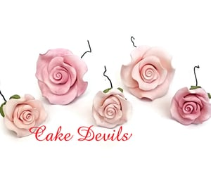 birthday cake, birthdaycake, and pink flowers image