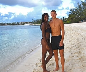 beach, couples, and interracial image