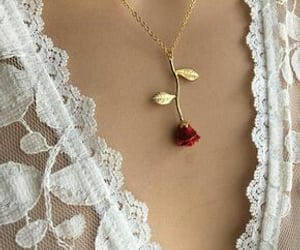 rose, necklace, and red image