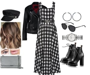 hat, jewelry, and leather jacket image