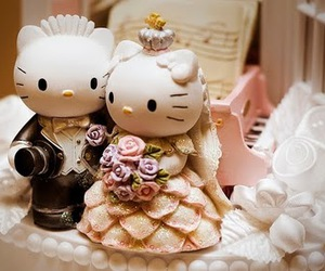 hello kitty, wedding, and cake image