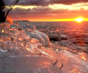 ice, snow, and sunset image