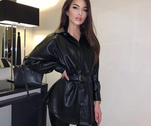 girl, ootd, and leather blouse image