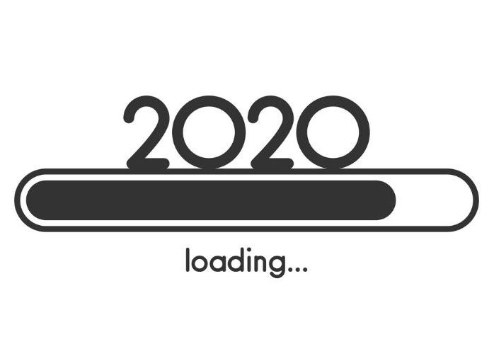 2020, new year, and b&w image