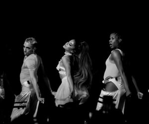 ariana grande, black and white, and concert image