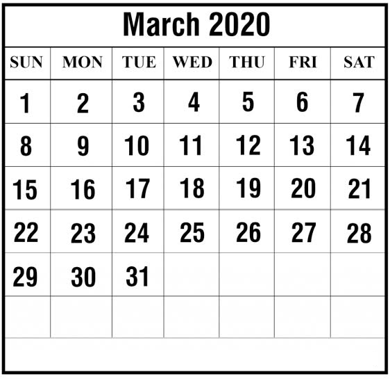 Free March 2020 Calendar PDF Printable On We Heart It