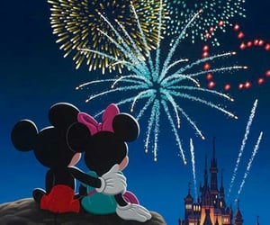 disney, mickey, and fireworks image