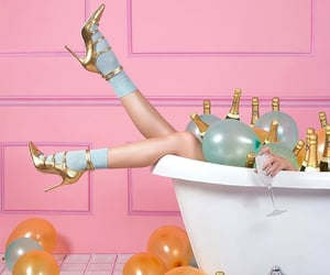 baloons, champagne, and gold image
