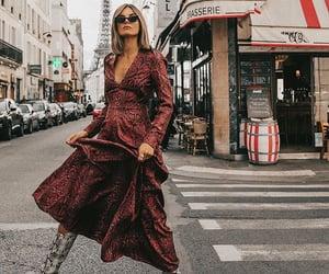 burgundy, dress, and print image
