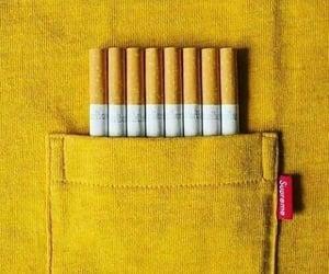 cigarette, supreme, and yellow image