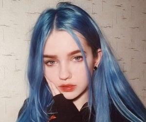 girl, blue hair, and hair image