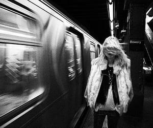 girl, subway, and black and white image