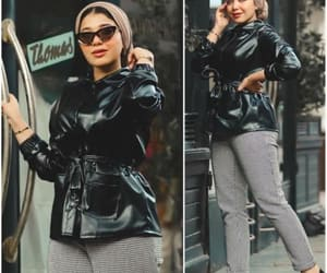 hijab, jeans, and leather jacket image