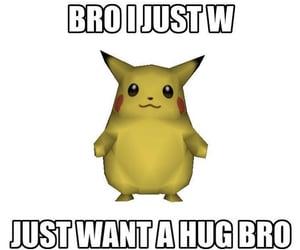 hug, meme, and pikachu image