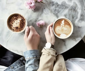 coffee, love, and flowers image
