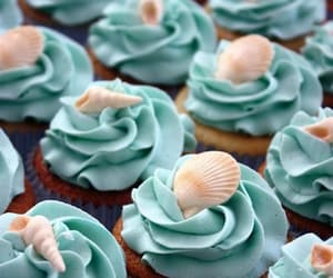 blue, cupcake, and shell image