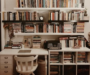 books, apartment, and book helves image