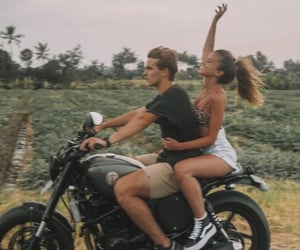 couple, love, and motorcycle image