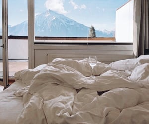 bed, mountains, and bedroom image