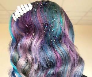 color hair, purple hair, and glitter hair image