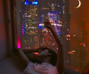 lights, moon, and night image