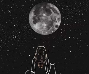 cat, girl, and night image
