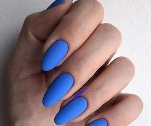 sky blue almond nails image