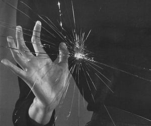 glass, hand, and broken image