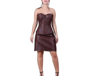 hourglass, leather corset, and brown leather image
