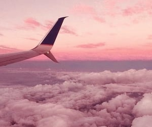 airplane, clouds, and magical image