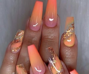 nails, orange, and acrylics image