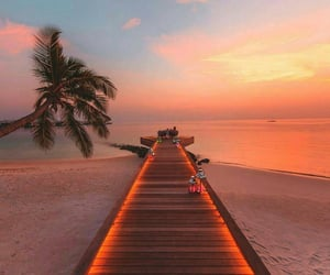 Maldives, beach, and sunset image