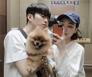 boyfriend, couple, and puppy image
