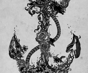 anchor, art, and flowers image