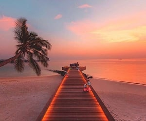Maldives, beach, and sunset image