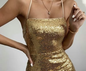 dress, gold, and beauty image